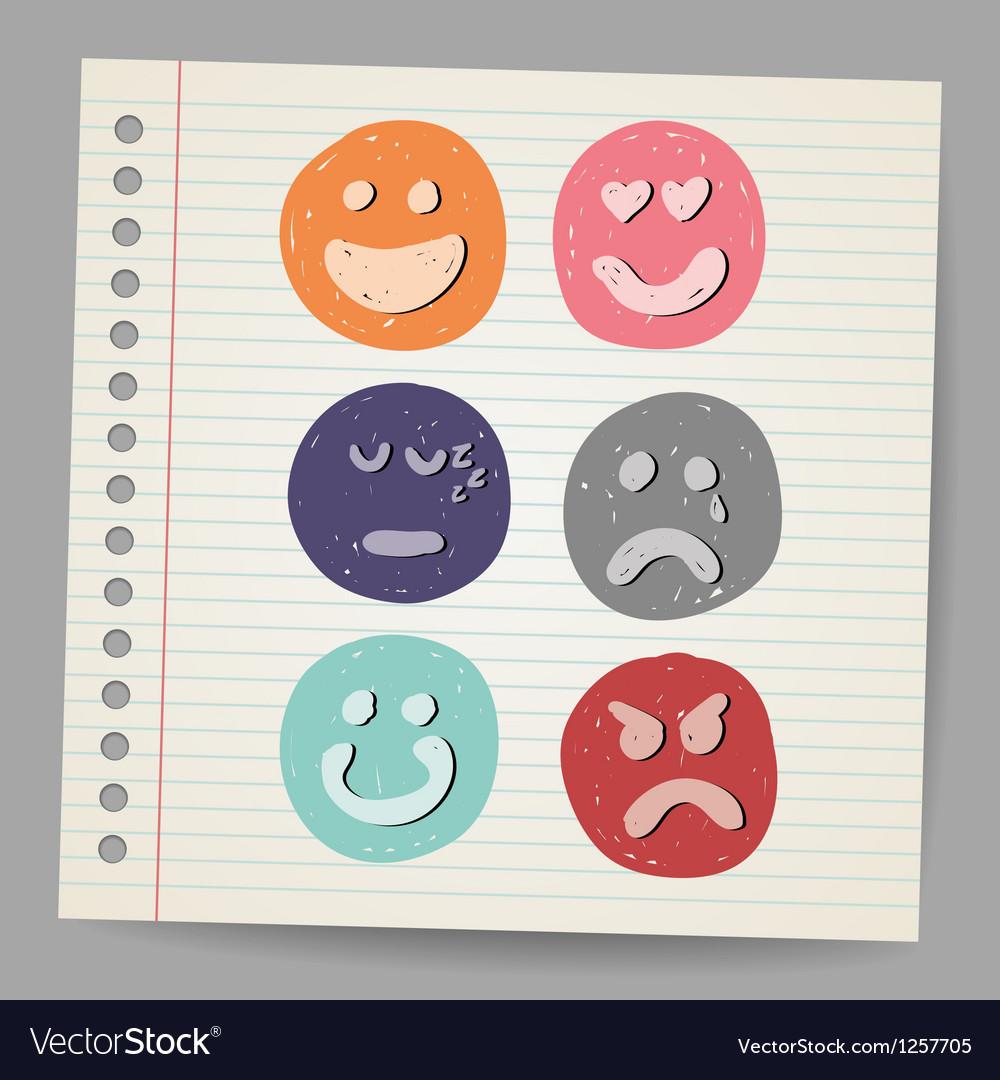 Scribble faces vector