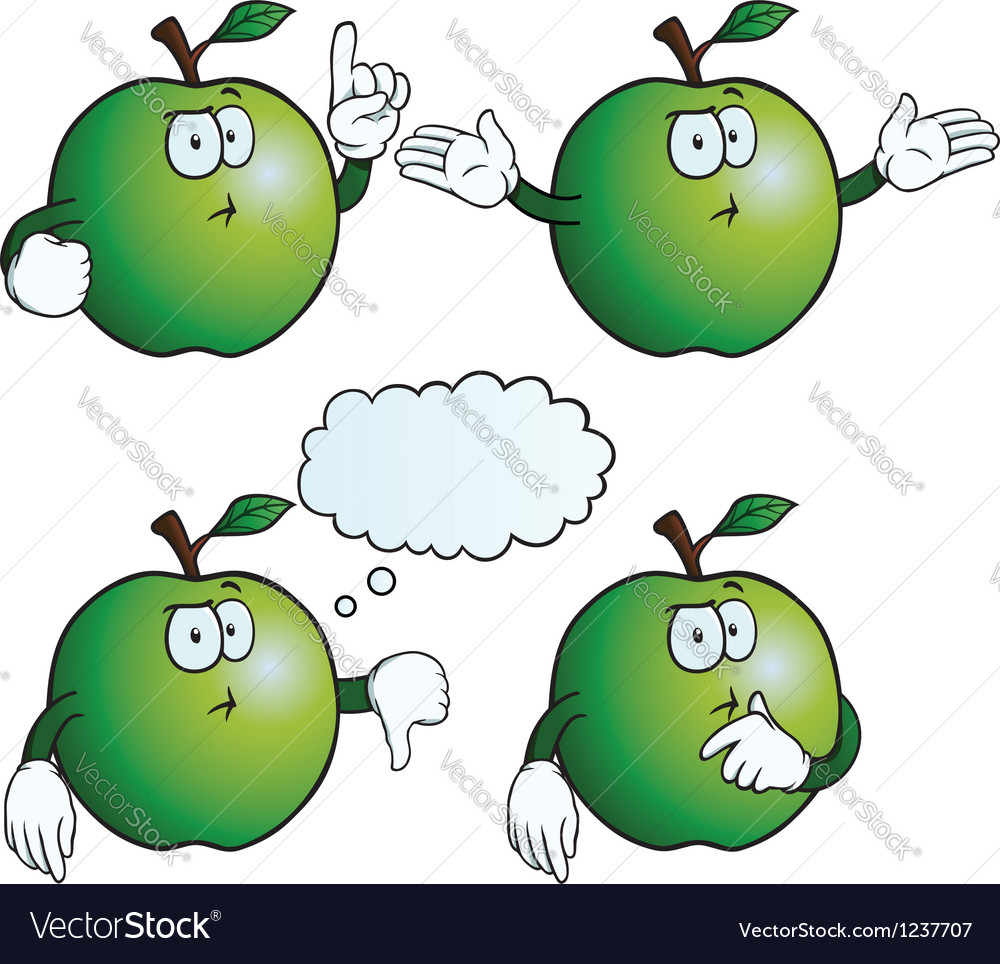 Thinking apple set vector