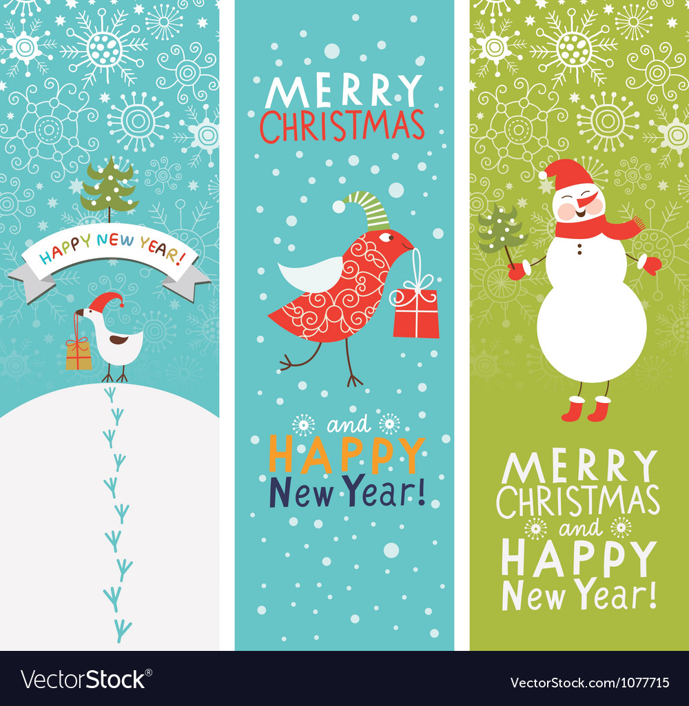 Set of vertical christmas and new year banners vector