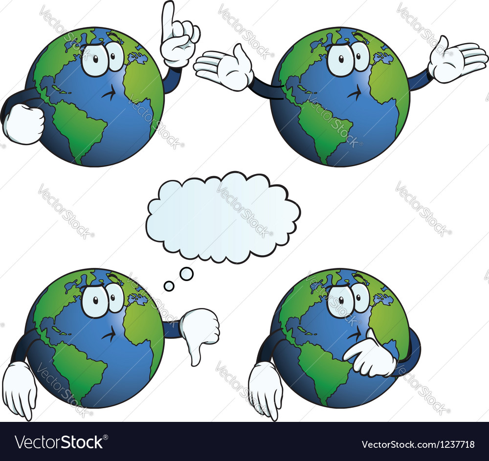 Thinking earth globe set vector
