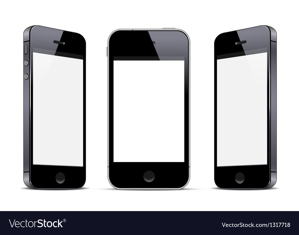 Three black smartphones vector