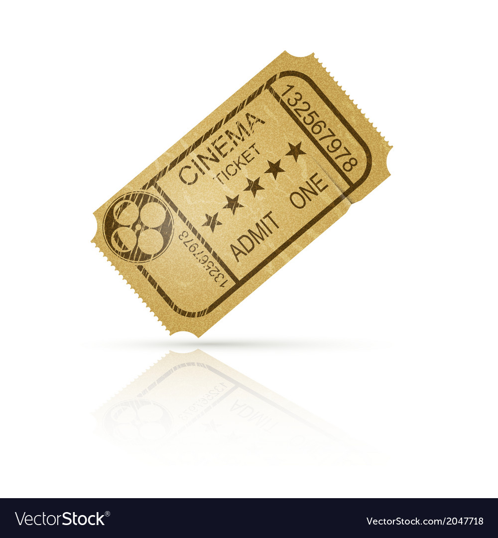 Vintage cinema ticket with reflection vector