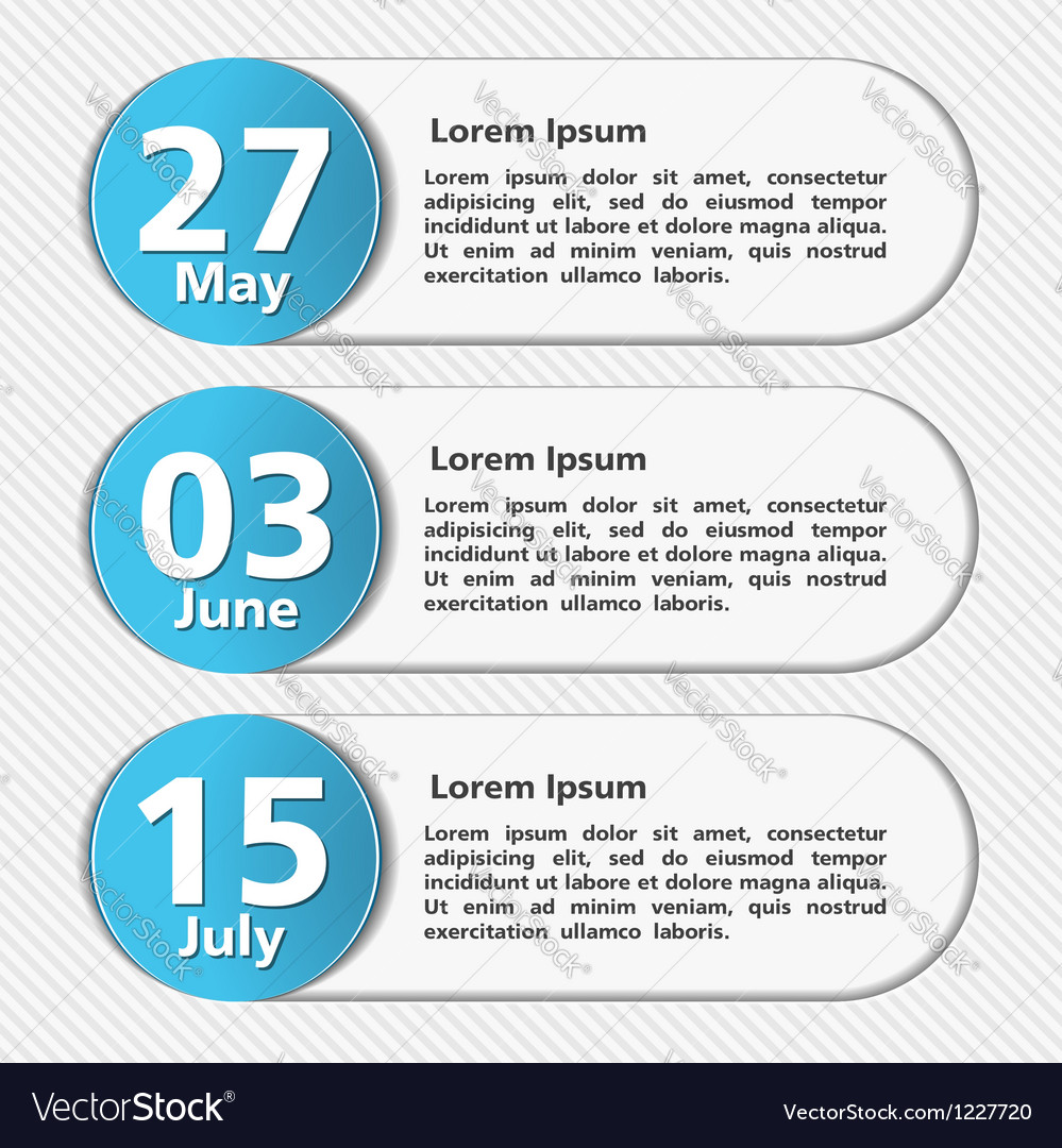 Design template with dates vector