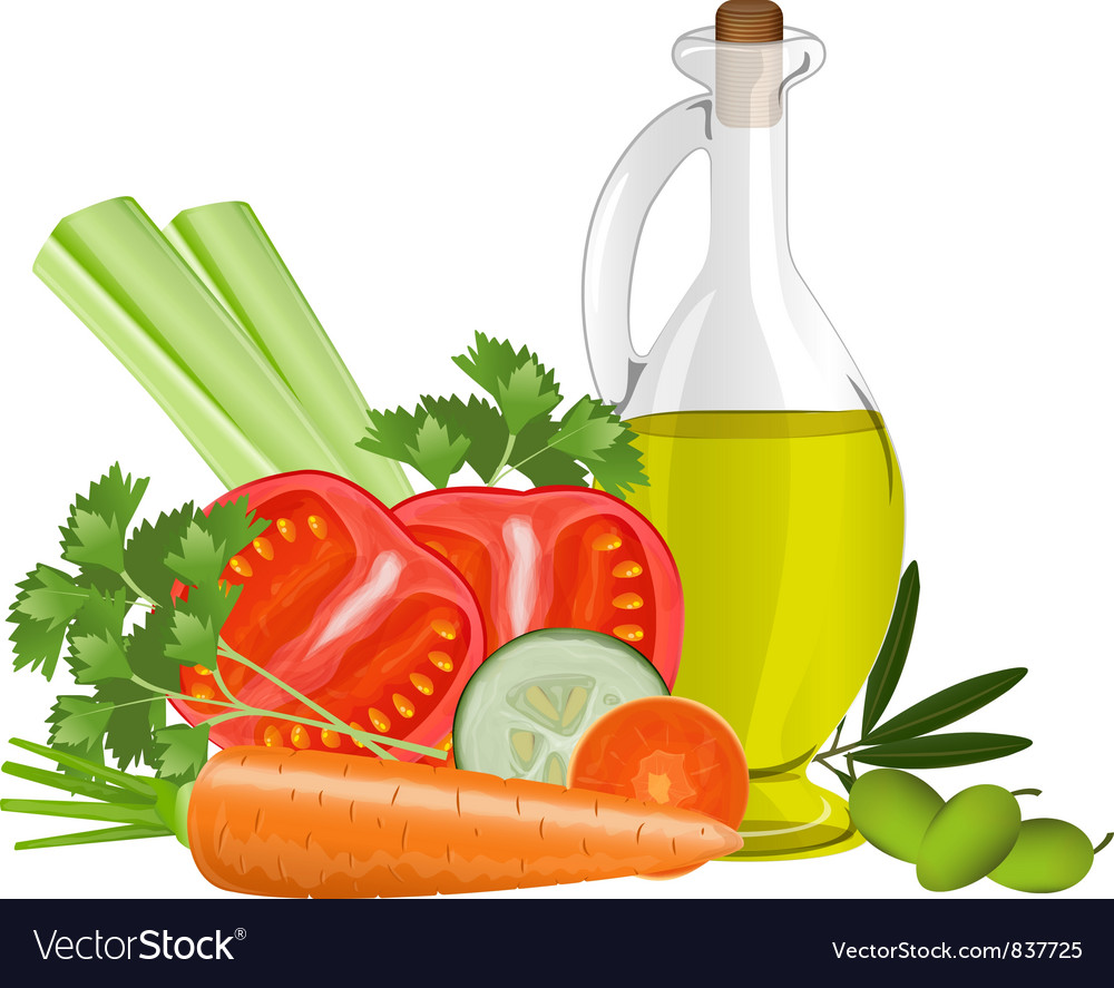 Still life with olive oil vector