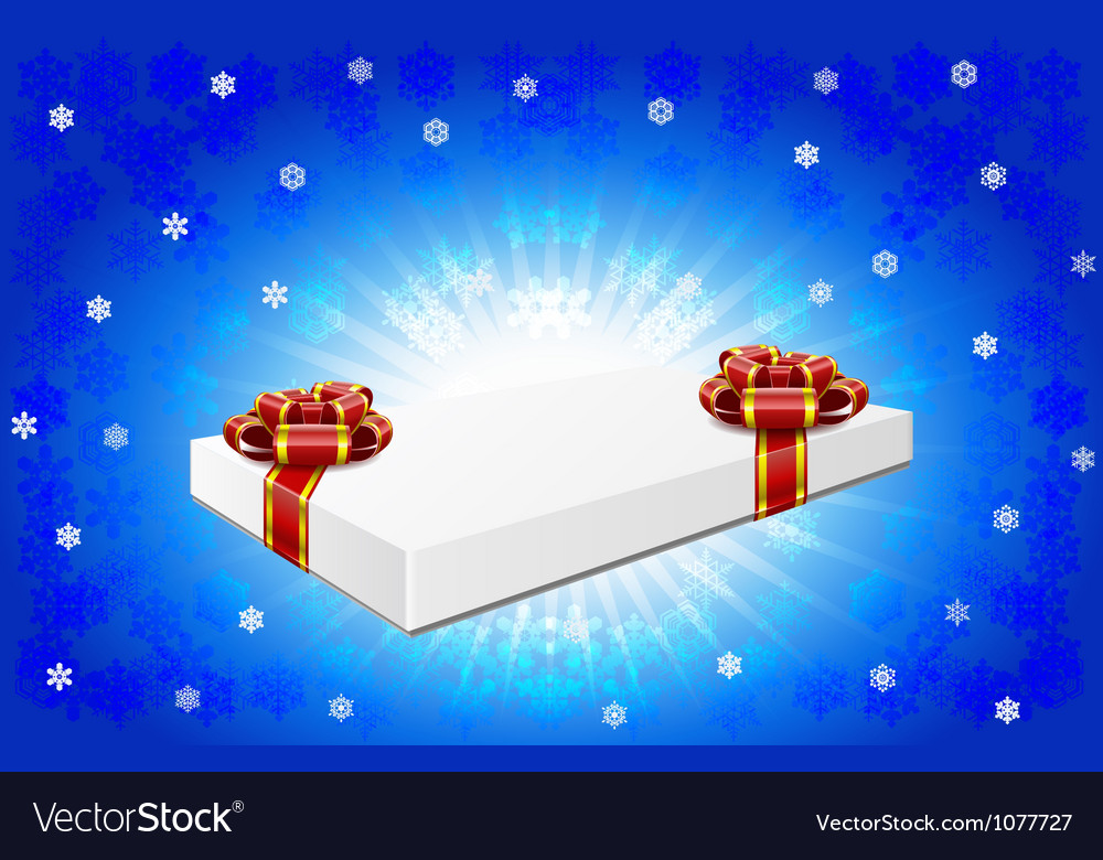Gift box is on winter background vector