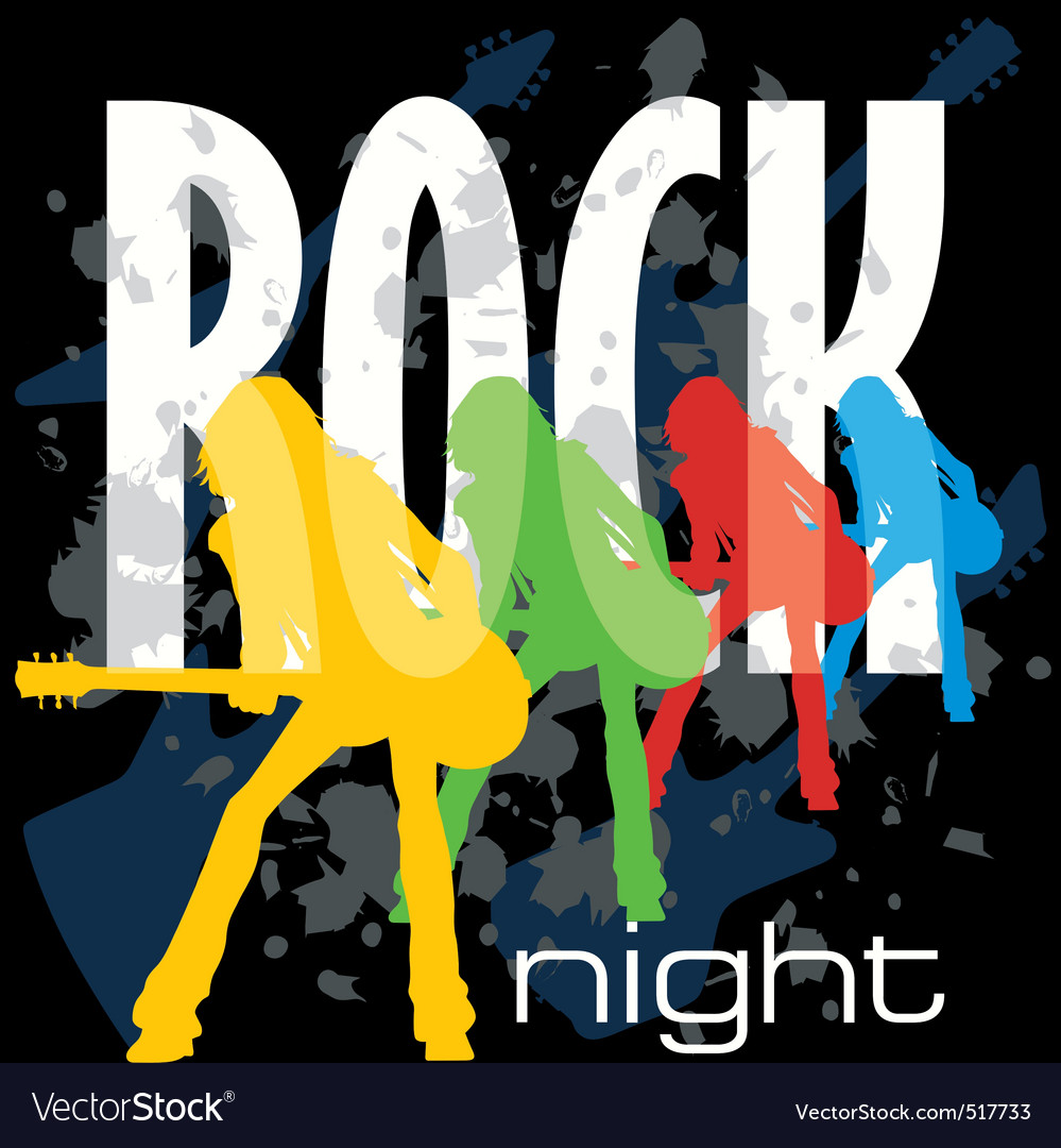 Rock night poster vector