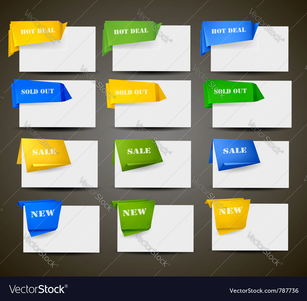 Retail origami stickers vector