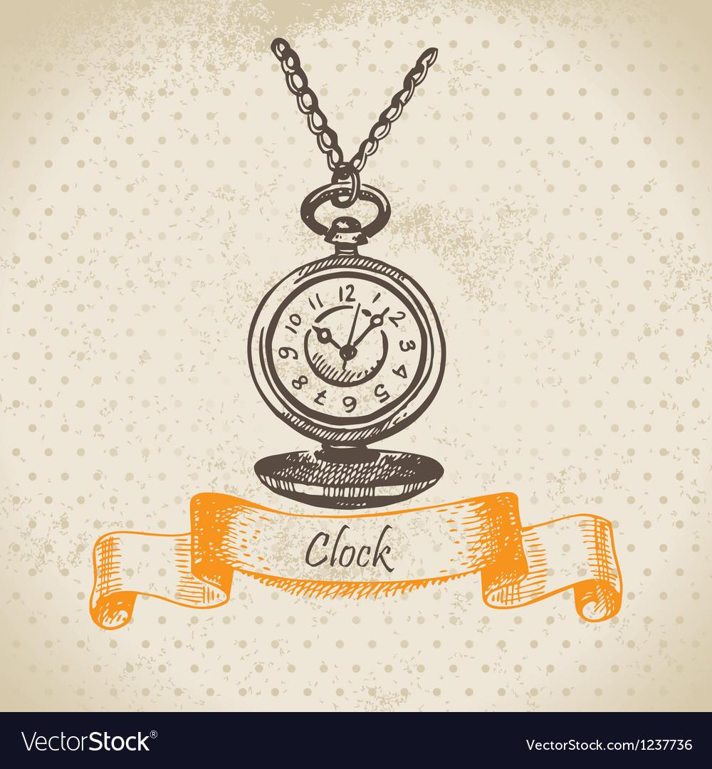 Vintage clock hand drawn vector