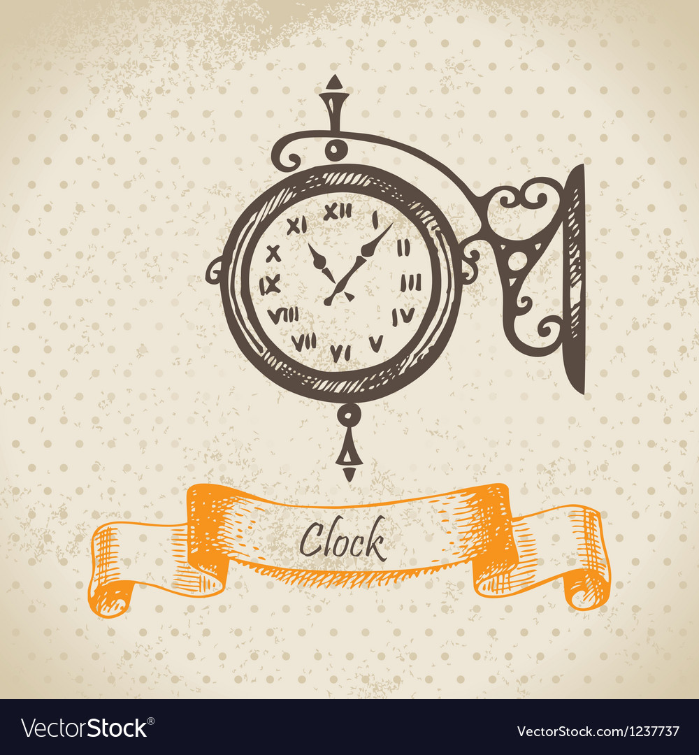 Street clock hand drawn vector