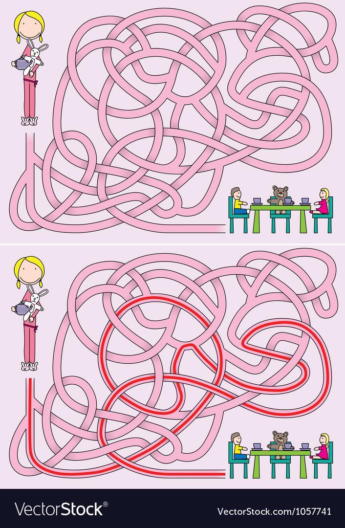 Girl maze vector