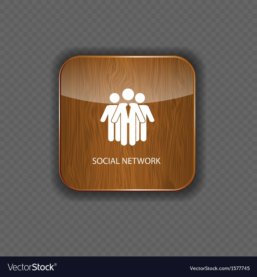 Social network wood application icons vector