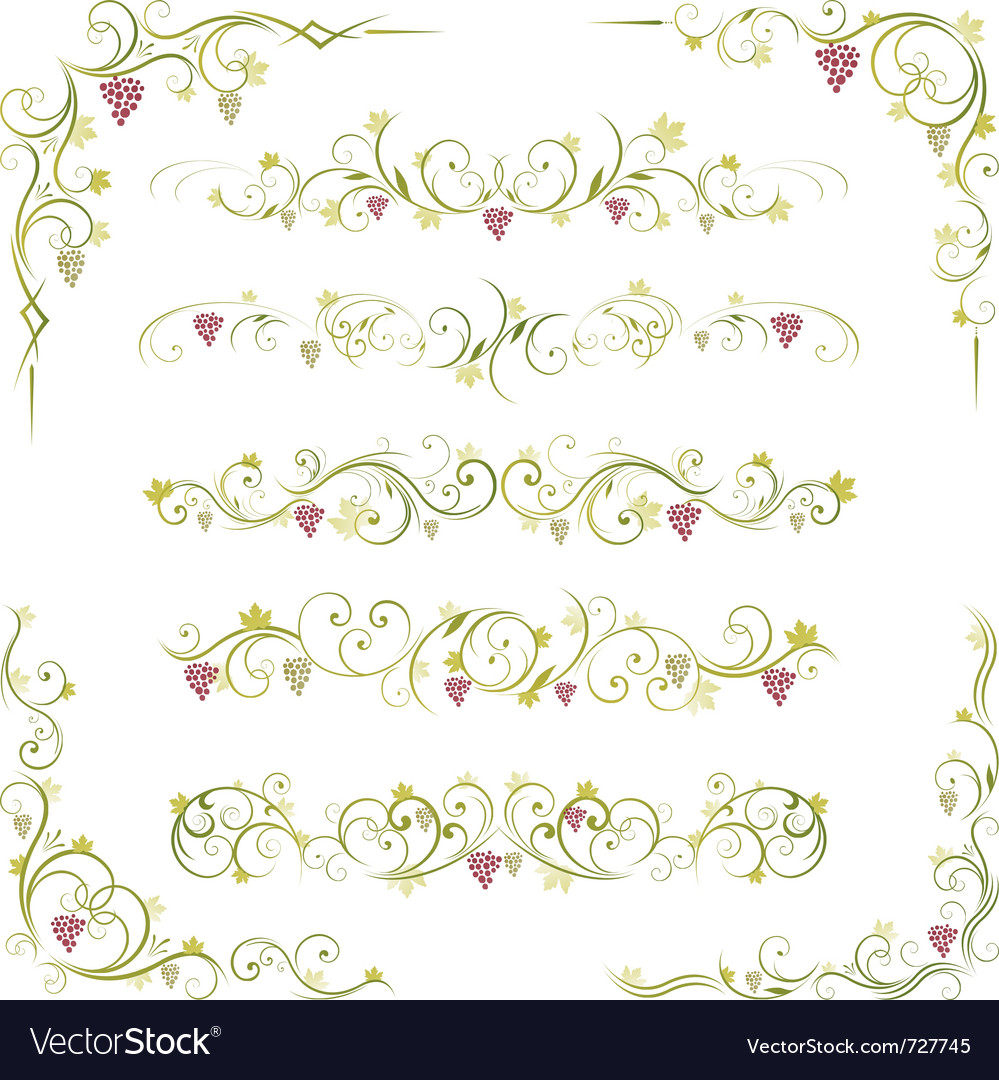 Wine design borders vector