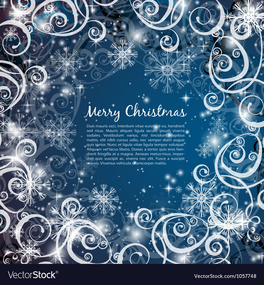 Elegant christmas blue background vector