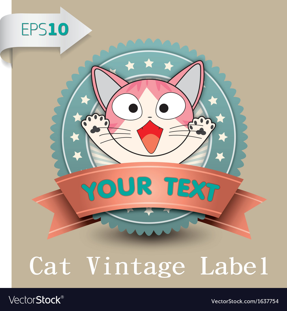 Cat vintage label vector
