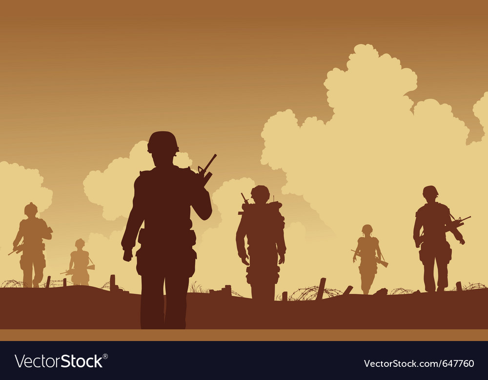 Army on patrol vector