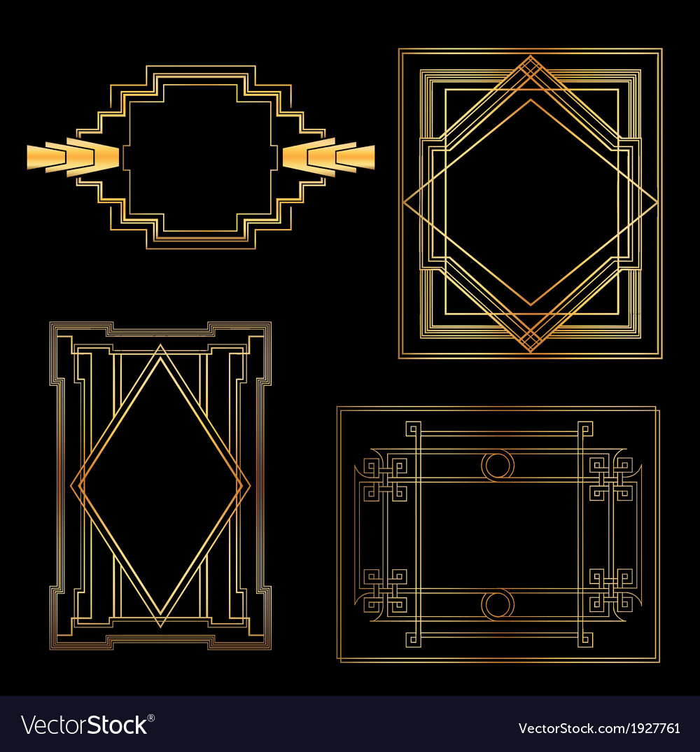 Art deco vintage frames and design elements vector