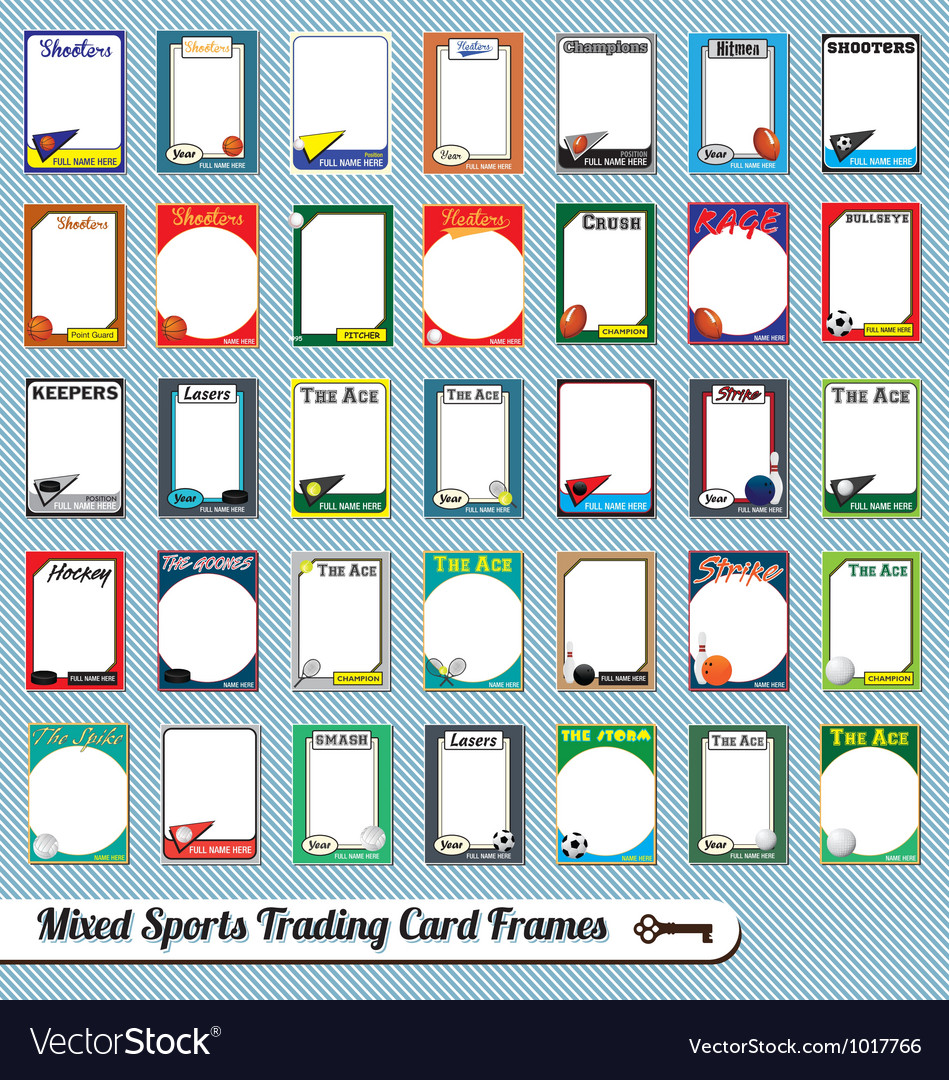Mixed sports trading cards vector