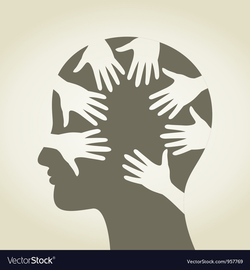 Head of hands vector