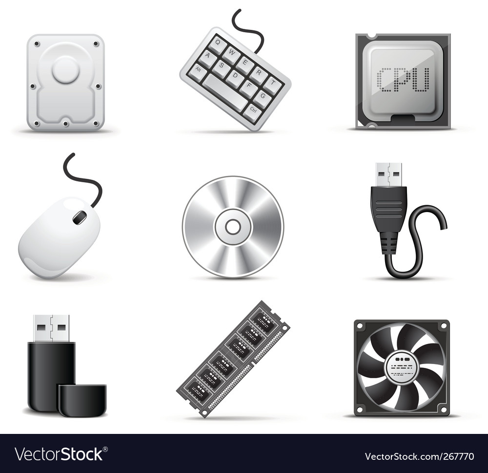 Computer parts bw series vector