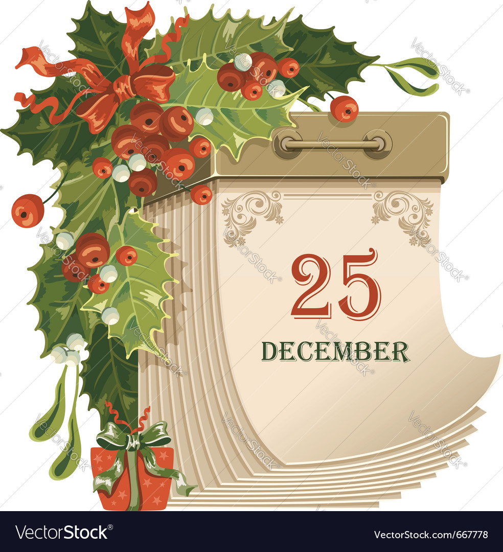 Christmas tear-off calendar vector