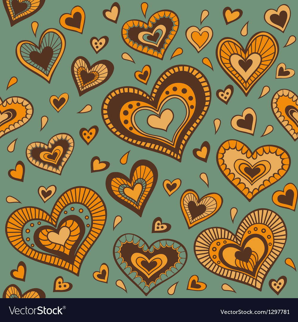 Green pattern with gold hearts vector