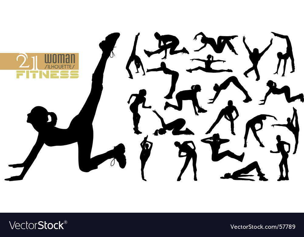 Fitness silhouettes vector