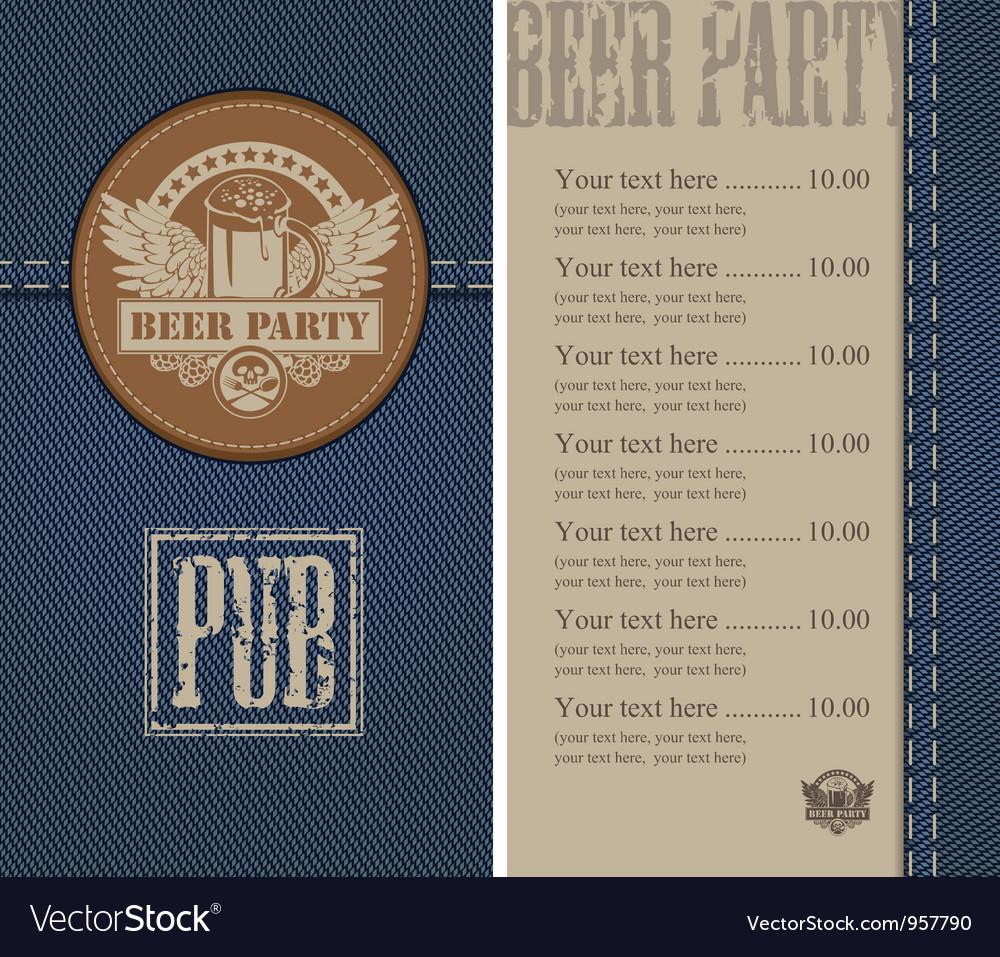 Beer jeans vector