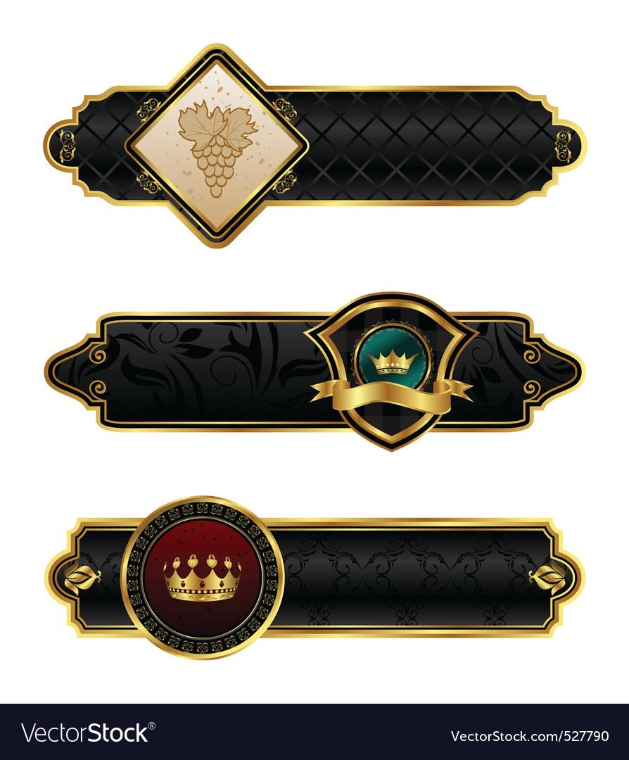 Blackgold decorative frames vector