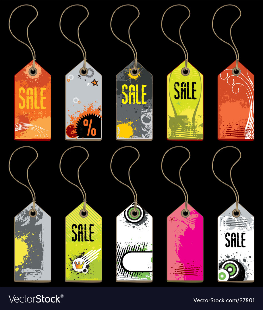 A set of grunge tags vector