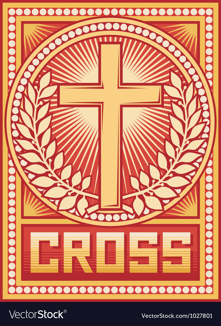 Christian cross poster vector