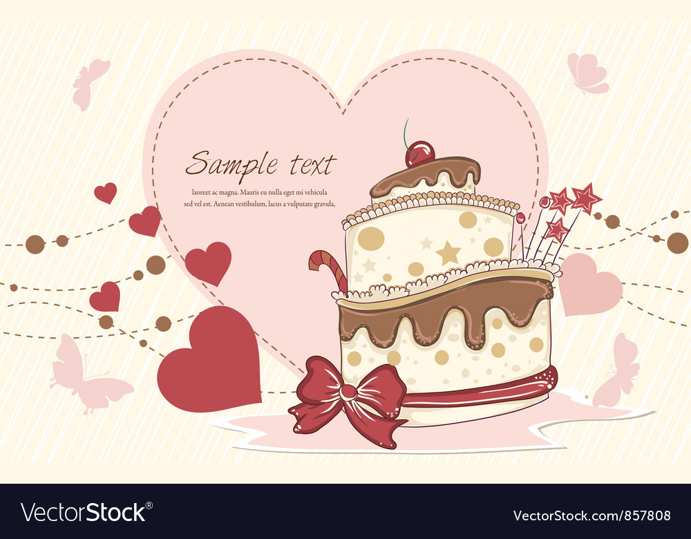 Cake with hearts vector