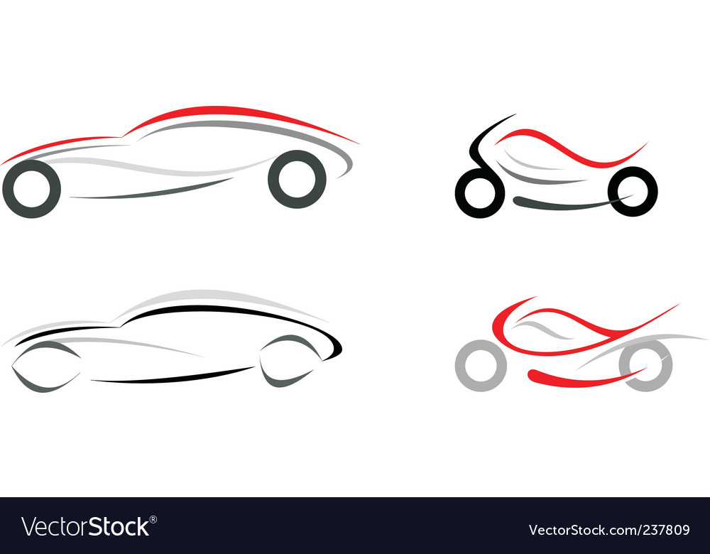 Car and motorcycle vector