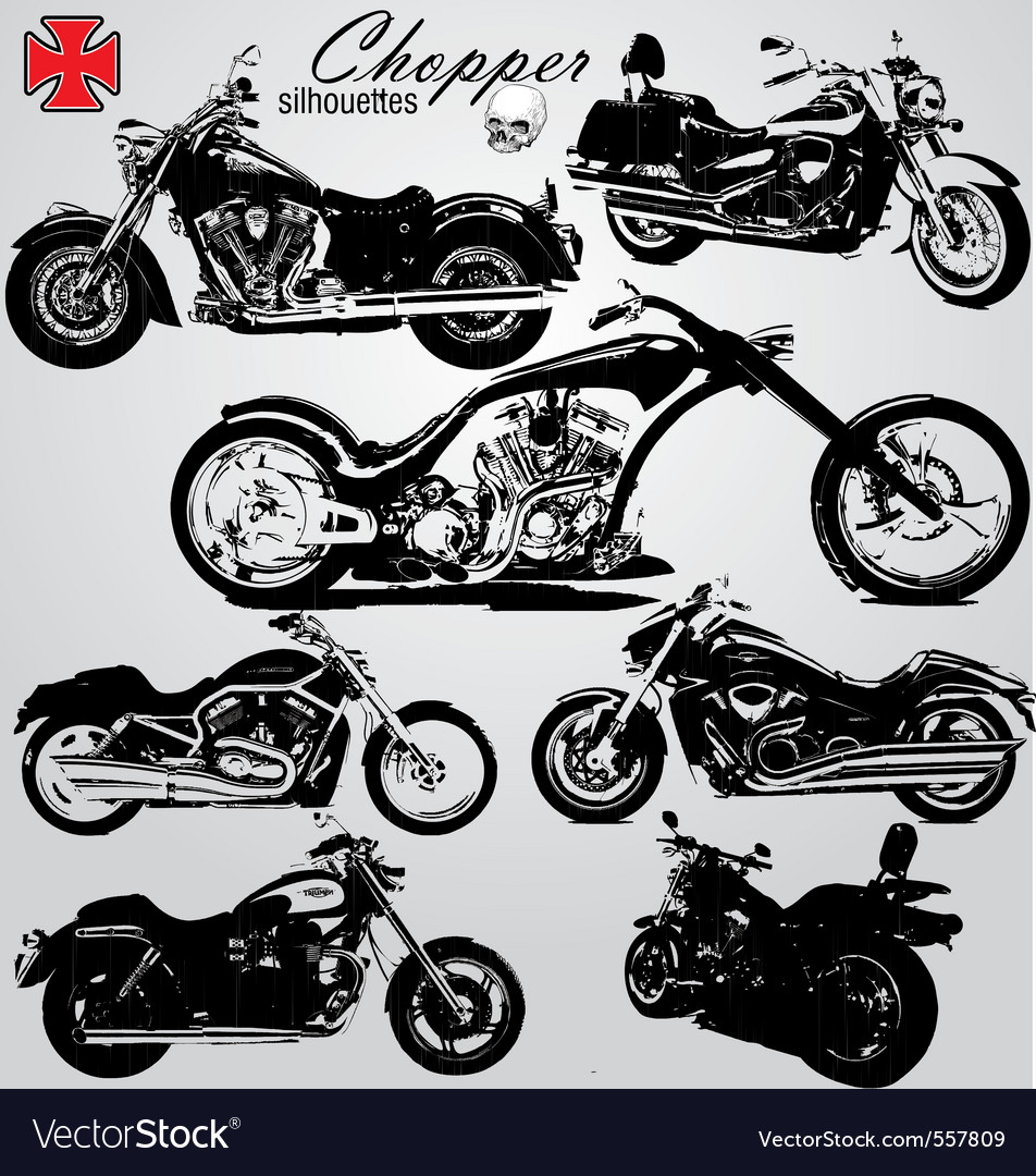 Chopper motorcycles silhouetes vector