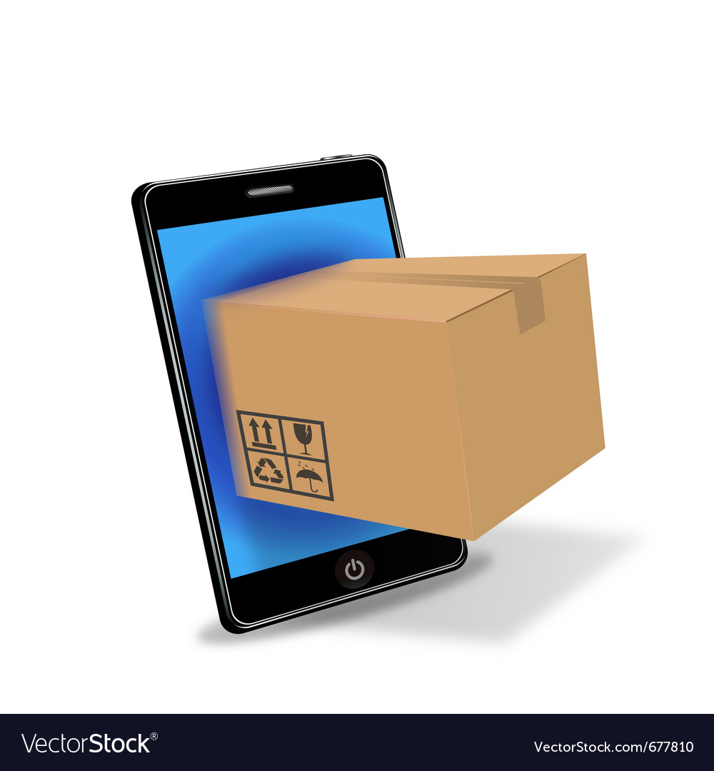 Internet shopping with smart phone vector