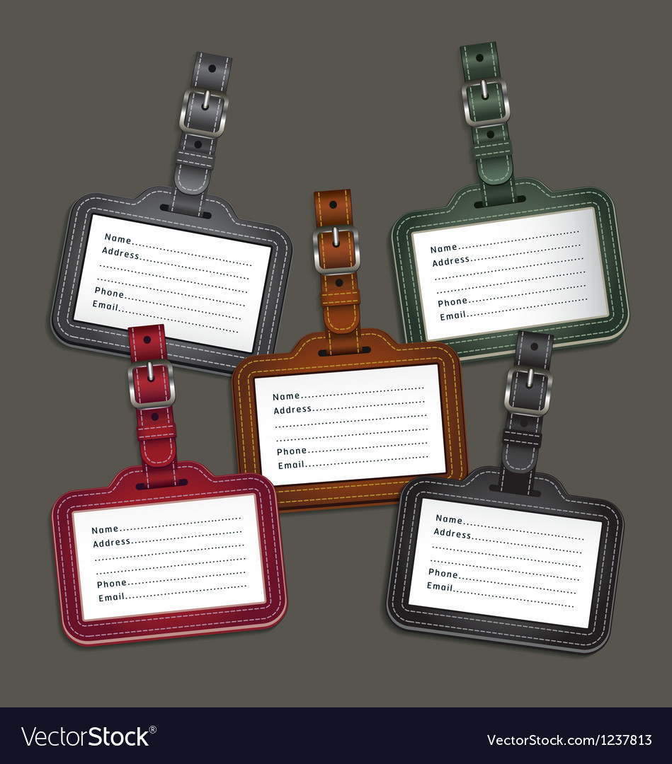 Leather luggage tags labels vector