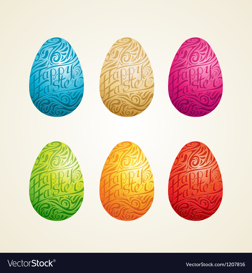 Carved easter egg vector