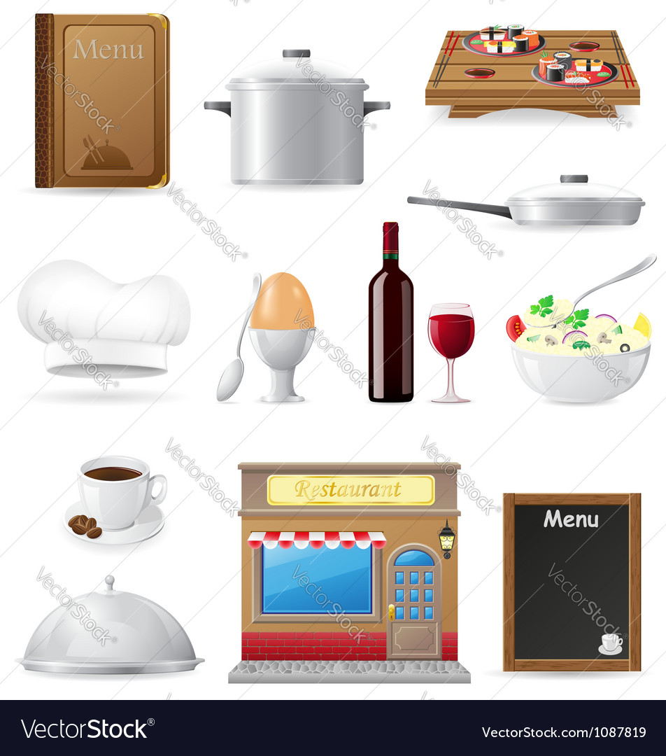 Set kitchen icons for restaurant cooking vector