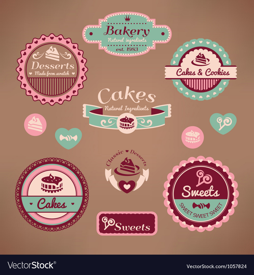 Set of vintage bakery vector