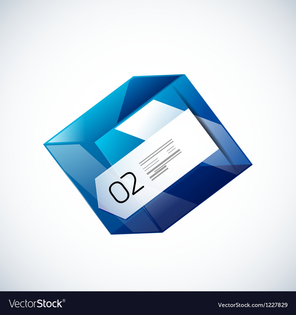 Modern 3d glass cube design template vector