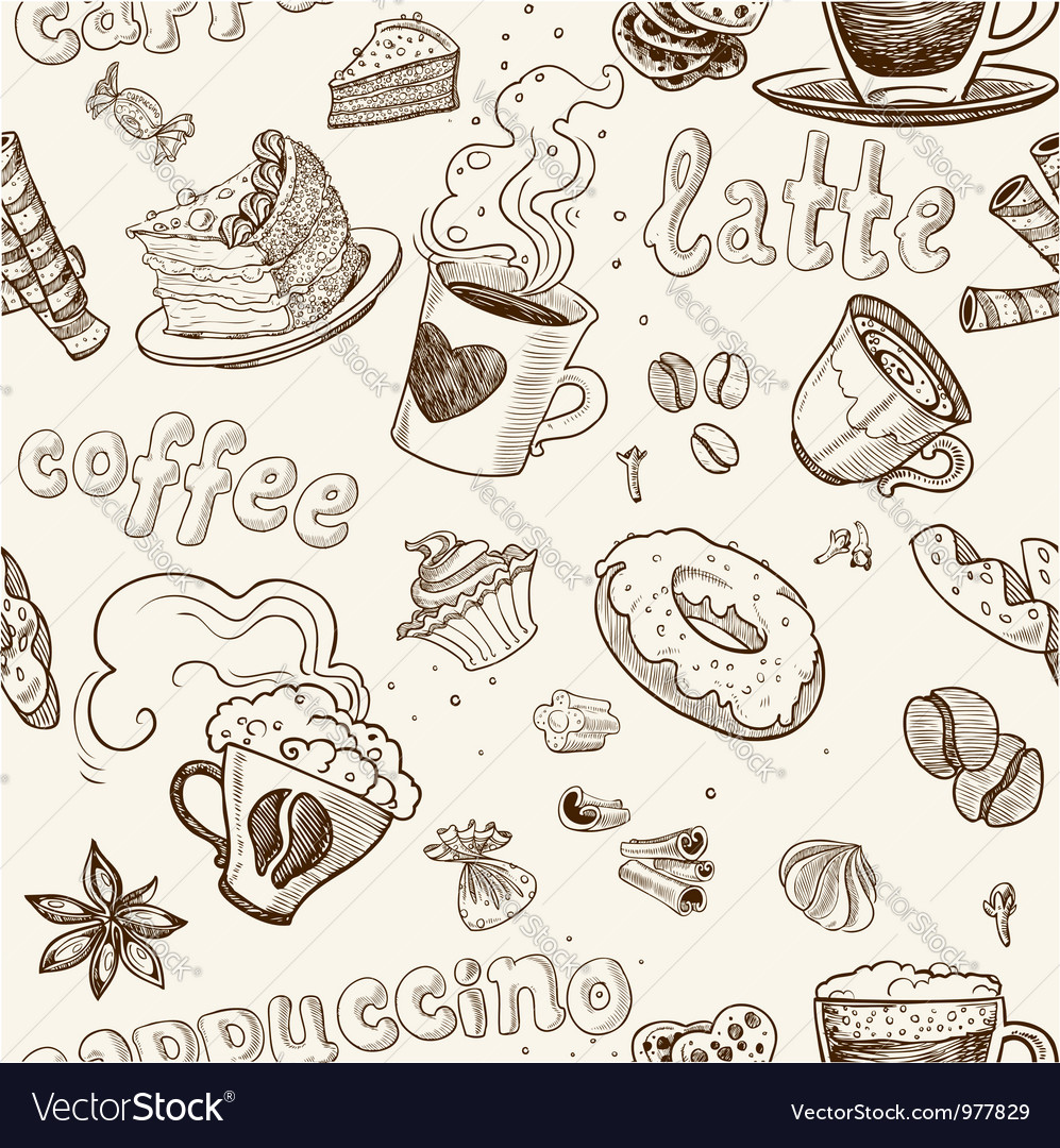 Seamless pattern with coffee cakes pies latte vector
