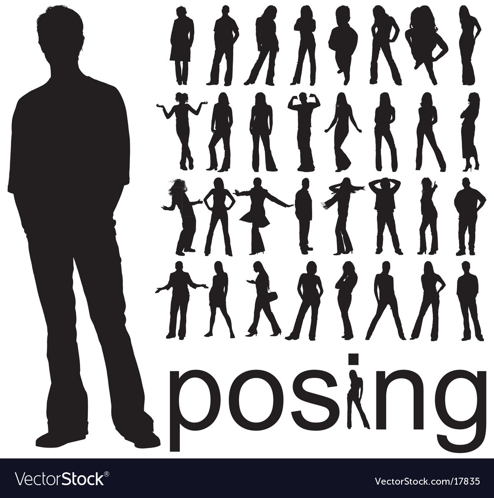Posing people silhouettes vector