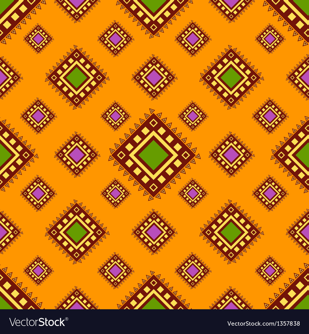 Tribal orange seamless pattern vector