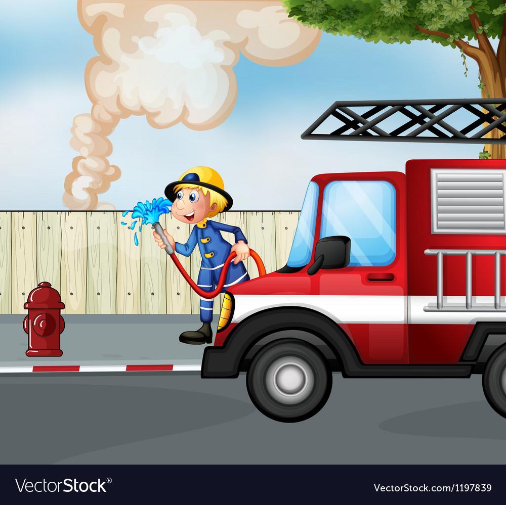 A fireman rescuing a fire near the street vector