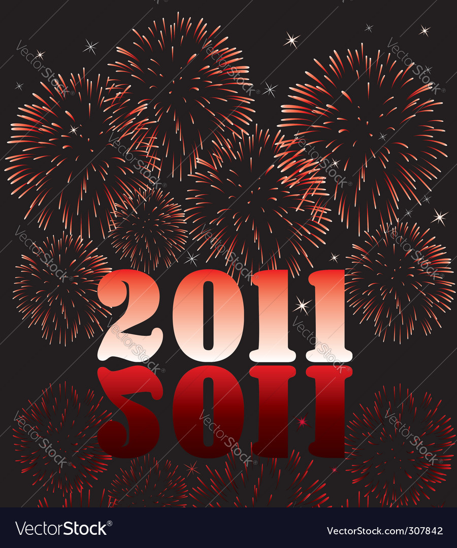 2011 numbers with fireworks vector