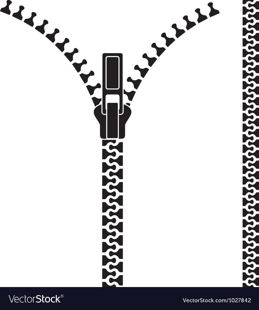 Open zipper vector