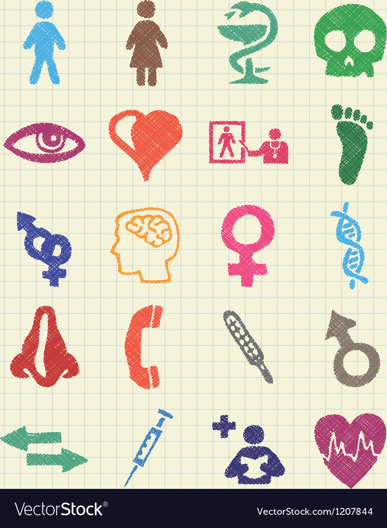 Medical and human web icons set vector