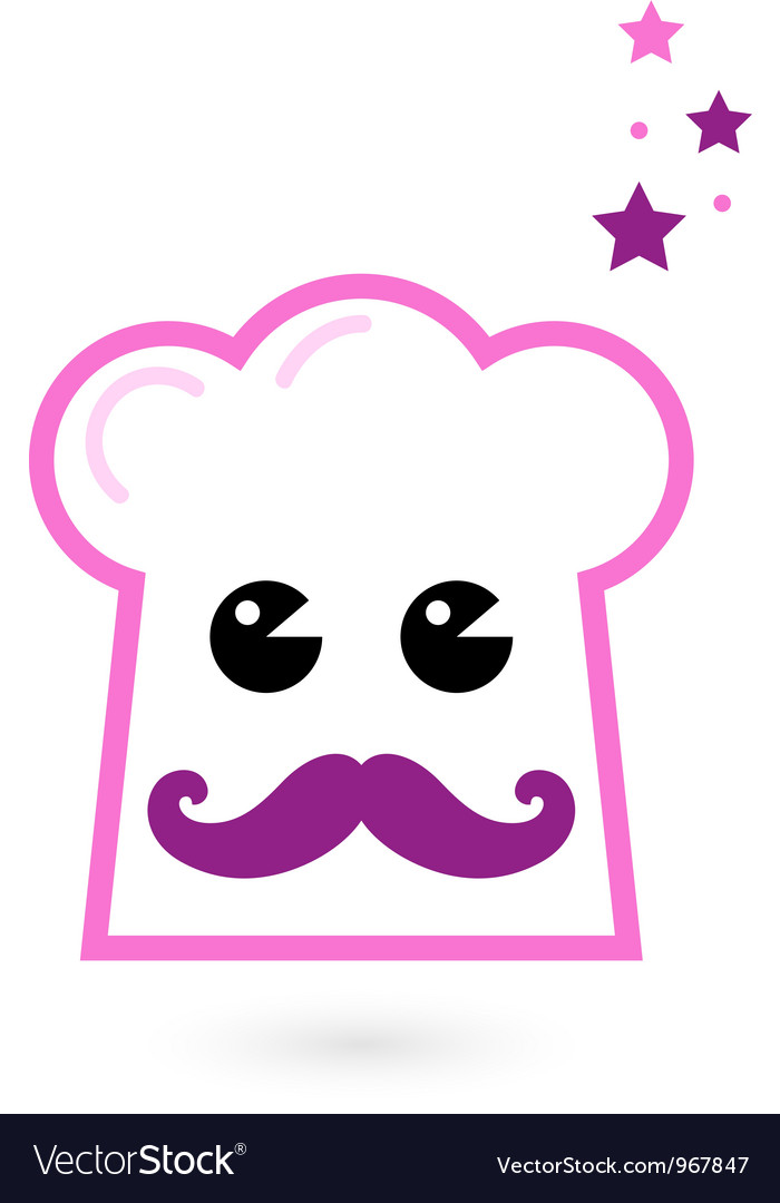 Chef pink hat mascot isolated on white vector