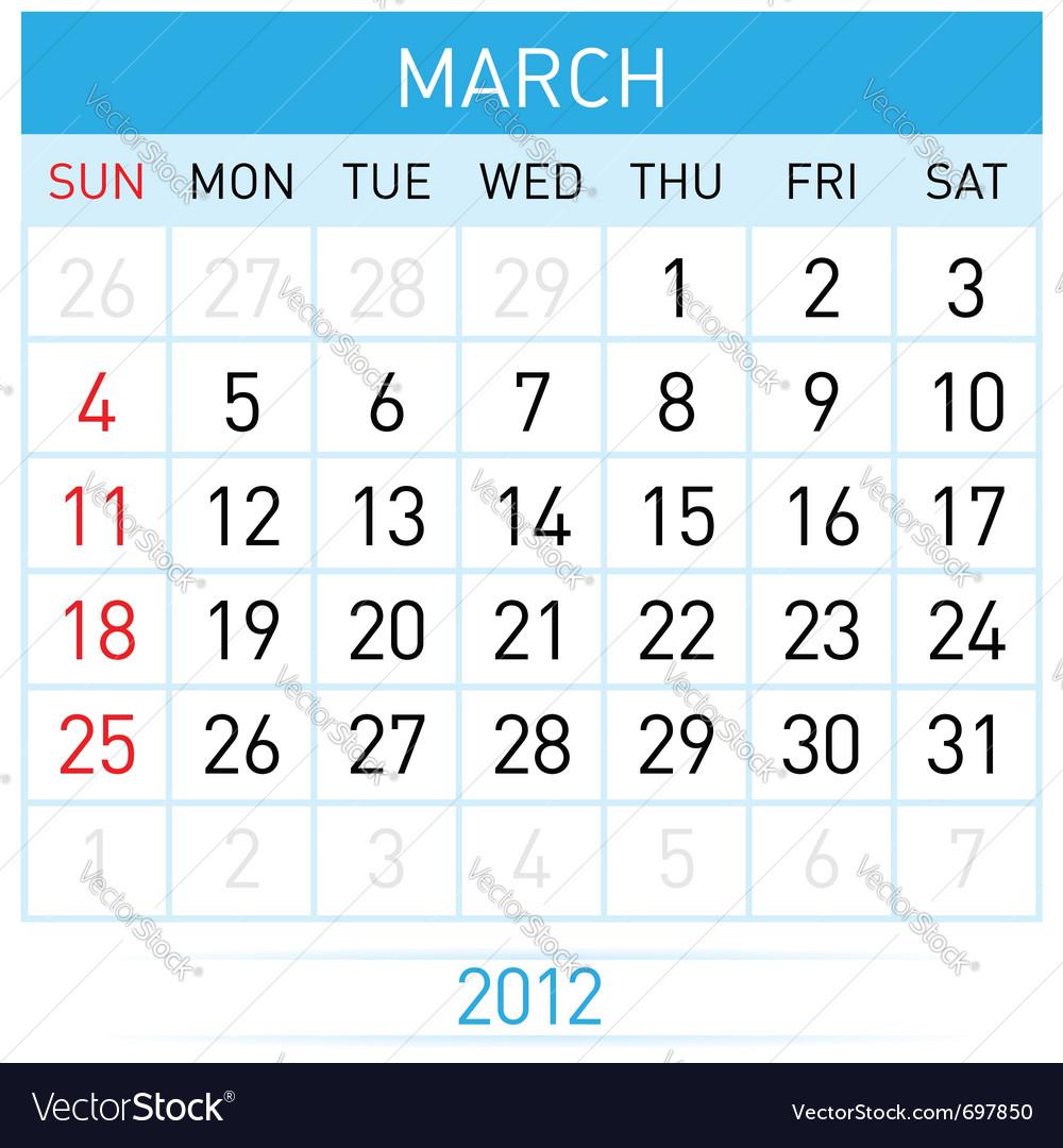 March calendar vector