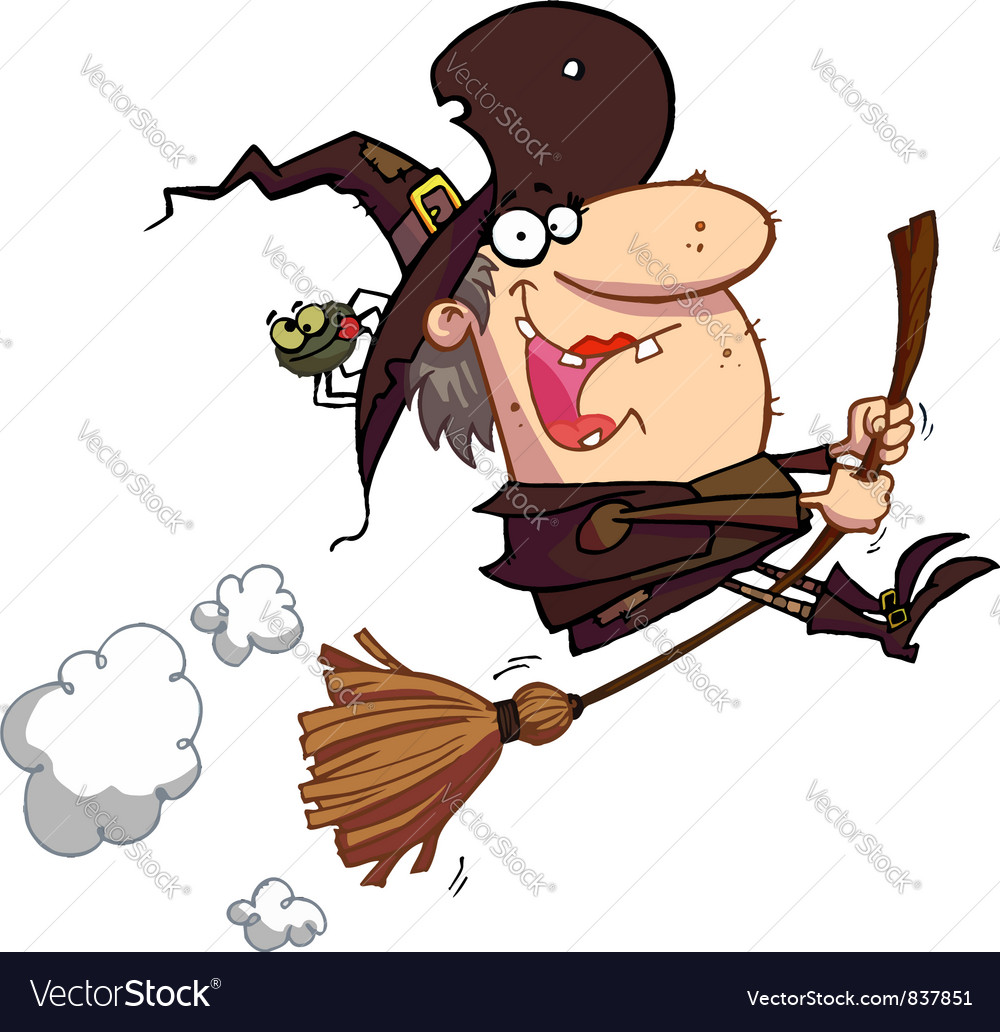 Witch rides broom vector