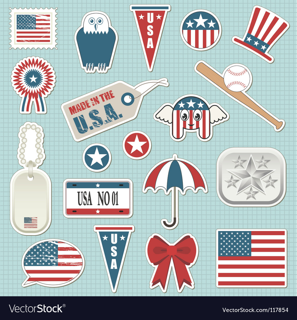 American stickers vector